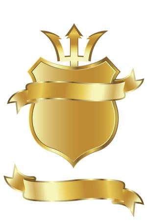 shiled: golden shiled and ribbon Stock Photo