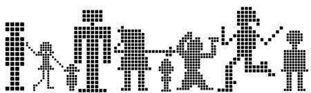 pixels silhouettes, kids, men, women  Stock Photo - 3401036