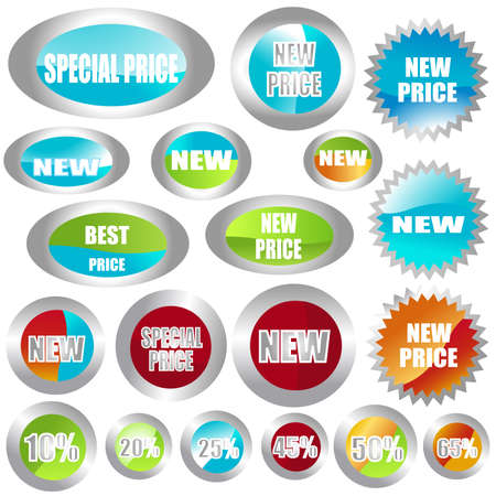 set of different shapes of stickers Stock Photo - 3401038
