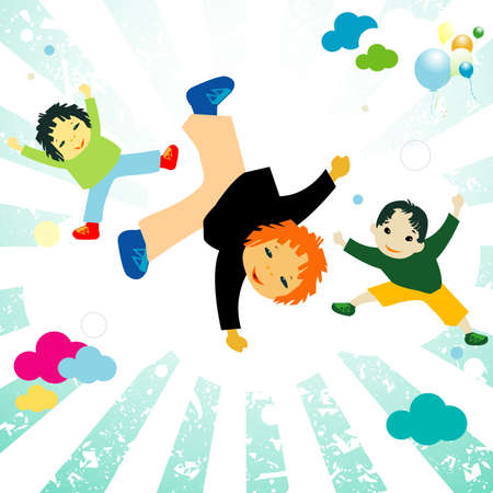 kinder: abstract design with happy kids jumping