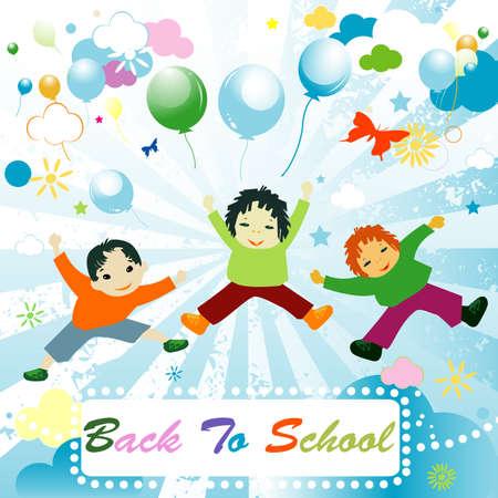 back to school,  joyful design with children playing  photo