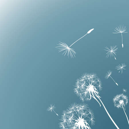 flimsy: silhouettes of three dandelions in the wind