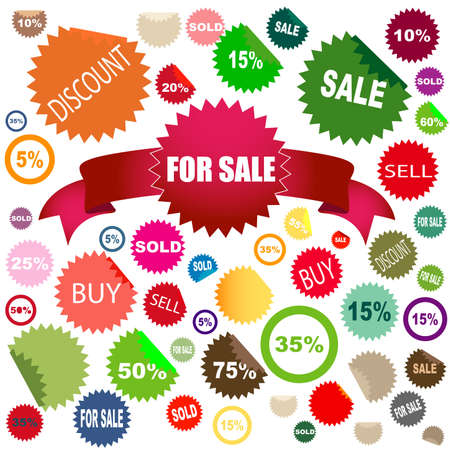 set of different colors and shapes of sale stickers Stock Photo - 3488475