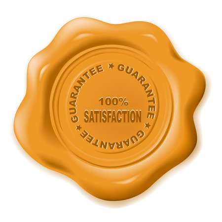 stamped: realistic wax seal with text: guarantee