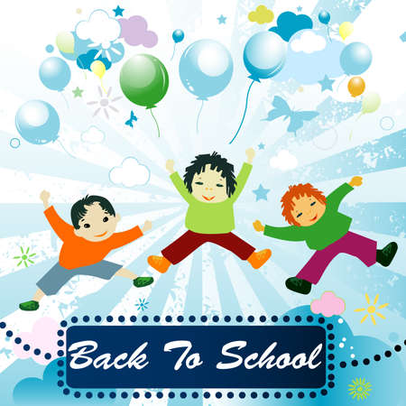 back to school;  joyful design with children playing  photo