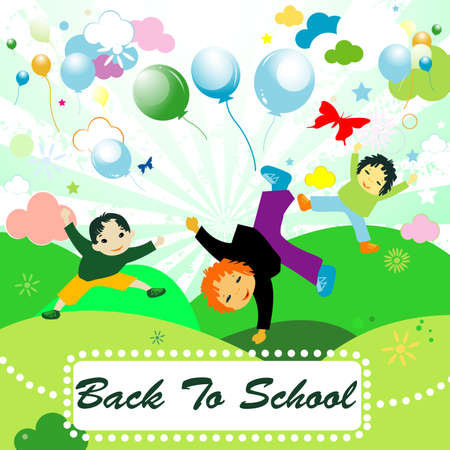 back to school;  joyful design with children playing Stock Photo - 4273010