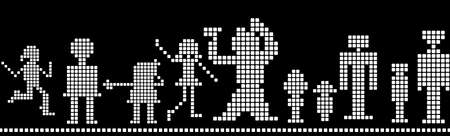 connection block: pixels silhouettes; kids, men, women