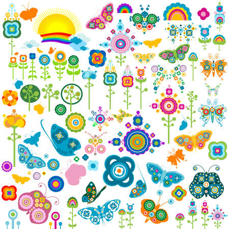 retro elements, flowers and butterflies Stock Photo - 4273058