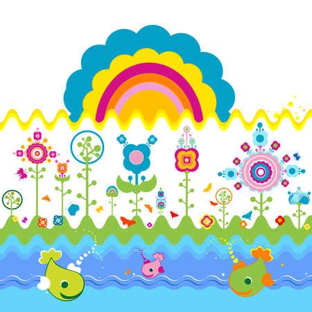rainbow fish: retro design Stock Photo
