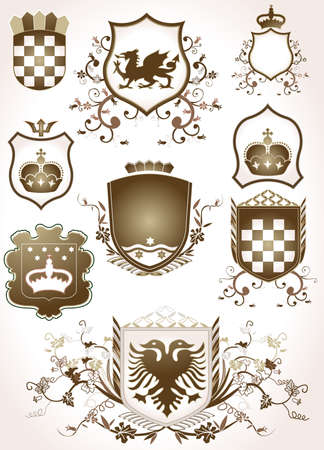 golden shield design set with various shapes and decoration Stock Photo