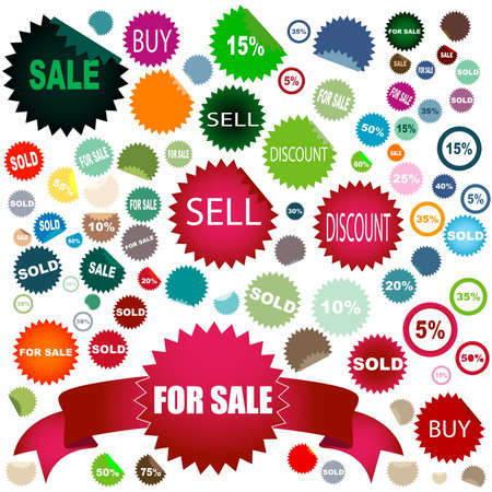 set of different colors and shapes of sale stickers Stock Photo - 4273030