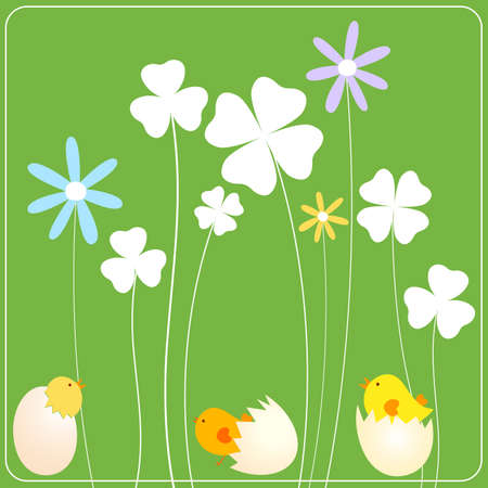 easter background with chicken in eggs, clovers and flowers Stock Photo - 4384948