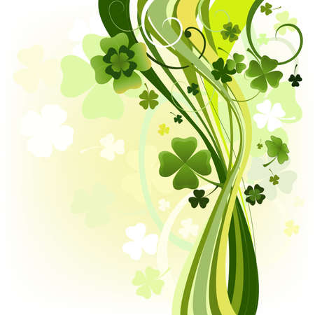 leafed: design for the St. Patricks Day with four and three leaf clovers  Stock Photo