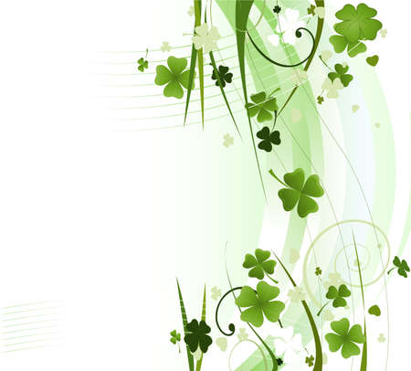 design for St. Patrick's Day with four and three leaf clovers  Stock Photo - 4384957