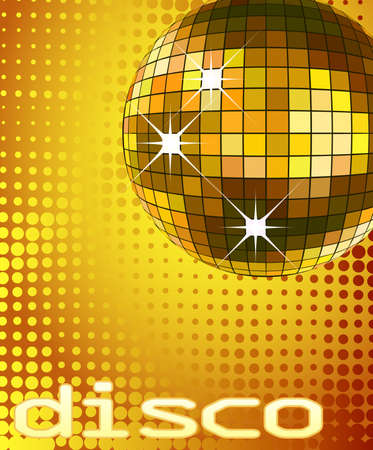 retro party background with disco ball, illustration Stock Illustration - 4384976