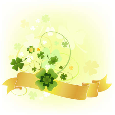 design for the St. Patricks Day with four and three leaf clovers  photo