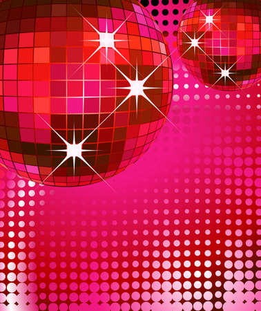 reflection mirror: retro party background with disco ball, illustration Stock Photo