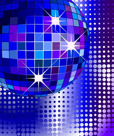 seventies: retro party background with disco ball, illustration Stock Photo