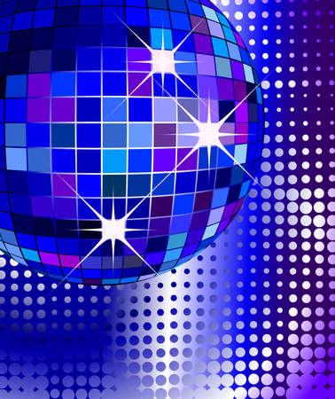 siebziger jahre: Retro Party Hintergrund mit Disco-Kugel, Illustration