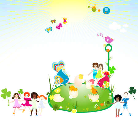 children enjoying the springtime photo