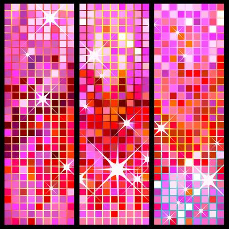 mirrored: disco banners, colorful, shiny party background