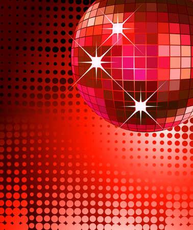 red glittery: background parte retro con disco ball, illustration