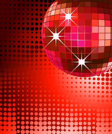 mirror reflection: retro party background with disco ball, illustration Stock Photo