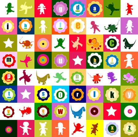 pattern with various elements, for kindergarten Stock Photo - 5585371