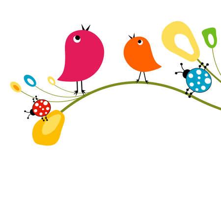 ¡rboles con pajaros: funny fondo, la naturaleza