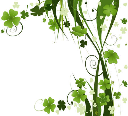 clover leaf shape: design for St. Patricks Day with four and three leaf clovers