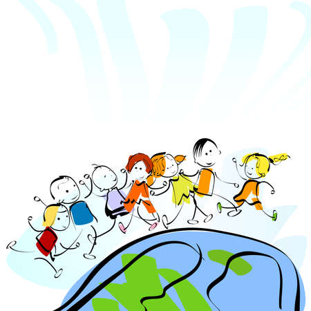 children and planet earth, watercolour style painting Stock Photo - 5617345