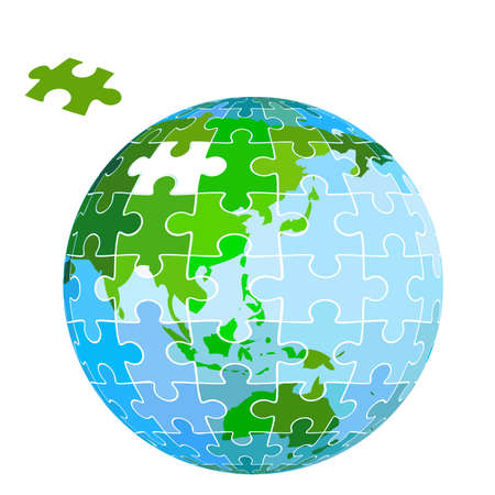 puzzle earth planet Stock Photo