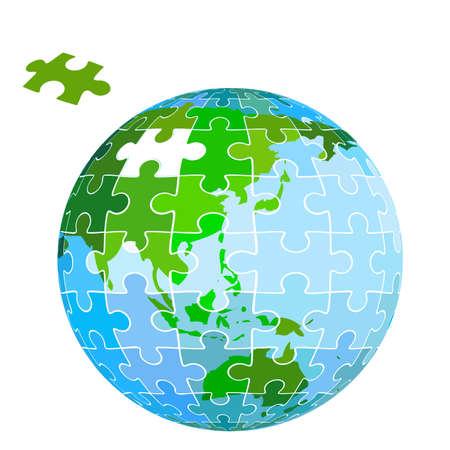 puzzle globe: puzzle earth planet Stock Photo