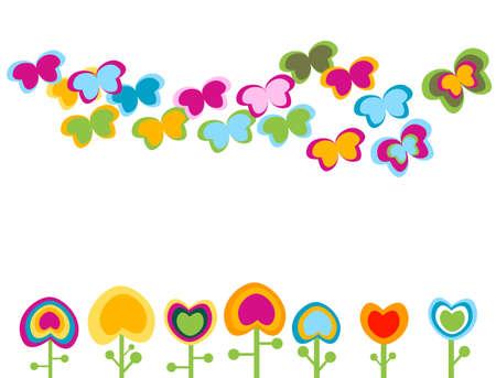 retro flowers, stylized elements photo