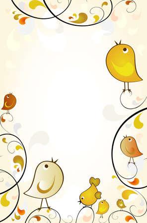 autumn scene: autumn scene with birds