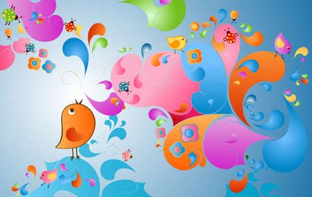 summer color burst, fantasy scene with birds, insects and flowers photo