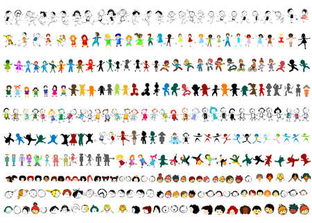 large collection of children silhouettes, happy kids  photo