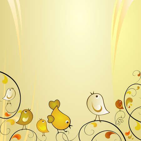 autumn scene: autumn scene with cute birds