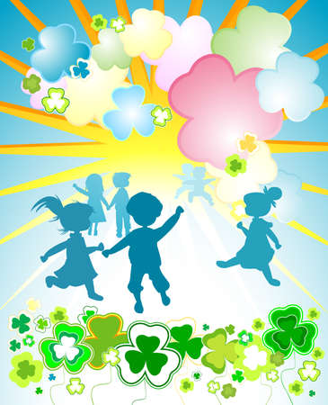 three leafed clover: kids playing in a fantasy clover garden Stock Photo