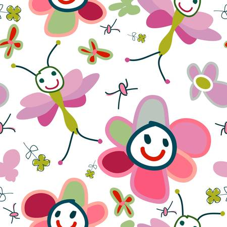 for kids: funny flowers, background for kids Stock Photo