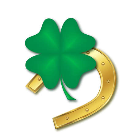 lucky clover: horseshoe and four leaf clover, design for the st patrick`s day