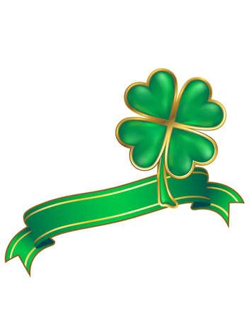 clover design; shiny four leaf clover and scroll photo