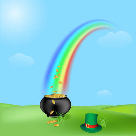 treasure and rainbow, illustration for the saint patrick`s day illustration