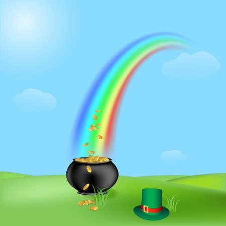 irish landscape: treasure and rainbow, illustration for the saint patrick`s day Stock Photo