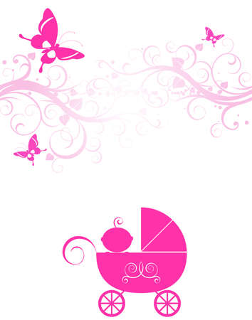 baby girl arrival: sweet pink baby girl arrival design Stock Photo