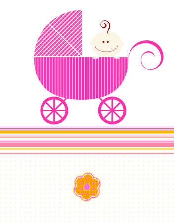 sweet pink baby girl arrival design photo