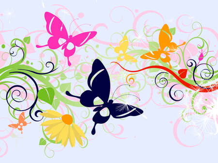 butterflies and flowers: summer floral design with butterflies Stock Photo