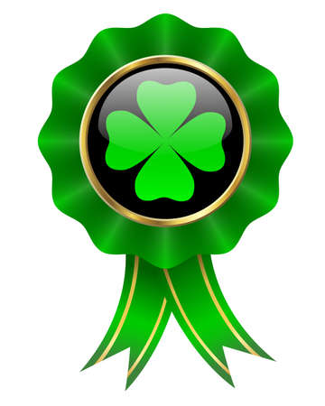 four leaves clover on shiny badge with ribbons photo