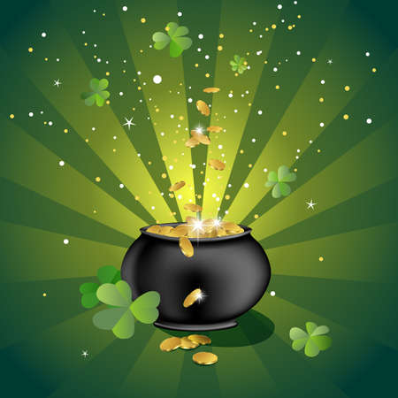 pot of gold: pot with gold coins, illustration for the saint patrick`s day
