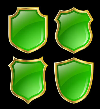 green shields with gloden border; design set with various shapes Stock Photo - 6481244